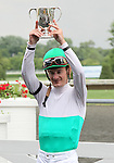 4 July 2010: Jockey Julien Leparoux in the winner's circle after winning the 22nd running of the G3 Chicago Handicap at Arlington Park in Arlington Heights, Illinois.