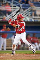 Batavia Muckdogs third baseman J.J. Gould (49) at bat during a game against the Brooklyn Cyclones on July 5, 2016 at Dwyer Stadium in Batavia, New York.  Brooklyn defeated Batavia 5-1.  (Mike Janes/Four Seam Images)