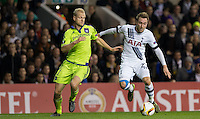 Christian Eriksen of Tottenham Hotspur and Olivier Deschacht of R.S.C Anderlecht battle for the ball during the UEFA Europa League Group J match between Tottenham Hotspur and R.S.C. Anderlecht at White Hart Lane, London, England on 5 November 2015. Photo by Andy Rowland.