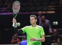 Februari 12, 2015, Netherlands, Rotterdam, Ahoy, ABN AMRO World Tennis Tournament, Milos Raonic thinking he crowd<br /> Photo: Tennisimages/Henk Koster