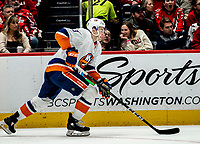 WASHINGTON, DC - JANUARY 31: Adam Pelech #3 of the New York Islanders on the attack during a game between New York Islanders and Washington Capitals at Capital One Arena on January 31, 2020 in Washington, DC.