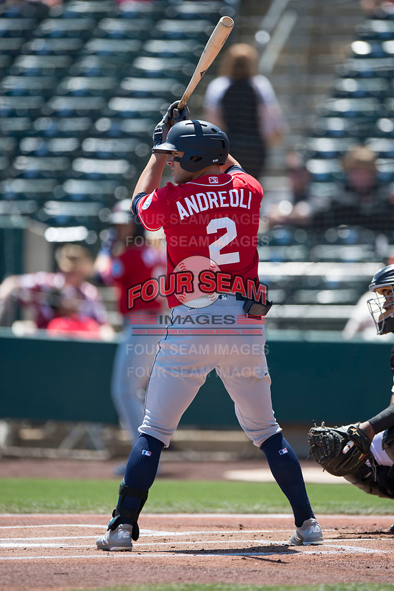 Tacoma Rainiers left fielder John Andreoli (2) at bat during a Pacific Coast League against the Sacramento RiverCats at Raley Field on May 15, 2018 in Sacramento, California. Tacoma defeated Sacramento 8-5. (Zachary Lucy/Four Seam Images)