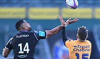 1st May 2021; Recreation Ground, Bath, Somerset, England; European Challenge Cup Rugby, Bath versus Montpellier; Joe Cokanasiga of Bath competes in the air with Anthony Bouthier of Montpellier