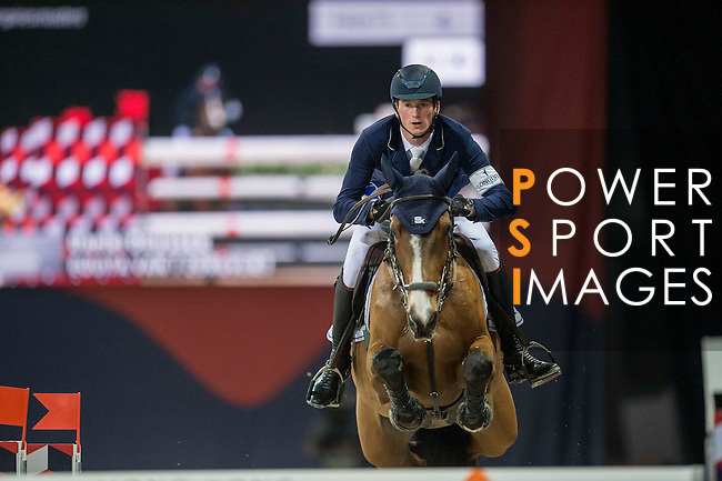 Daniel Deusser of Germany riding Equita van T Zorgvliet during the Hong Kong Jockey Club Trophy competition, part of the Longines Masters of Hong Kong on 10 February 2017 at the Asia World Expo in Hong Kong, China. Photo by Juan Serrano / Power Sport Images