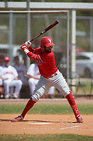 Philadelphia Phillies Jonathan Guzman (8) bats during an exhibition game against the Canada Junior National Team on March 11, 2020 at Baseball City in St. Petersburg, Florida.  (Mike Janes/Four Seam Images)