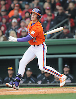 Second baseman Steve Wilkerson (17) of the Clemson Tigers in a game against the South Carolina Gamecocks on Saturday, March 2, 2013, at Fluor Field at the West End in Greenville, South Carolina. Clemson won the Reedy River Rivalry game 6-3. (Tom Priddy/Four Seam Images)