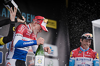 Champaign shower!! ...as Mathieu Van Der Poel (NED/Correndon-Circus) wins his (only) 2nd World Tour race ever; the 74th Dwars door Vlaanderen 2019 (1.UWT) ahead of Anthony Turgis (FRA/Direct Energie) and Bob JUNGELS (LUX/Deceuninck-Quick Step)<br /> <br /> One day race from Roeselare to Waregem (BEL/183km)<br /> <br /> ©kramon