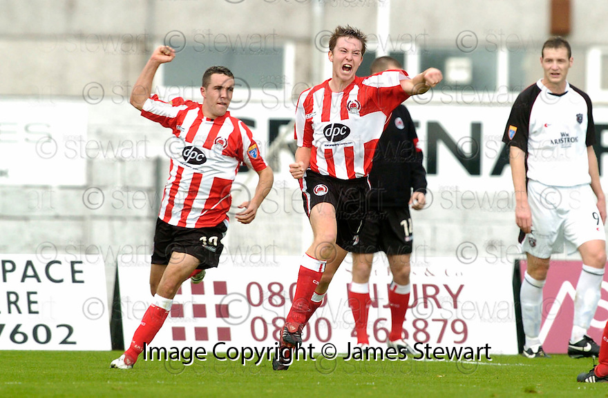 21/10/2006       Copyright Pic: James Stewart.File Name :sct_jspa05_gretna_v_clyde.CHRIS HIGGINS CELEBRATES AFTER HE SCORES CLYDE'S FIRST...Payments to :.James Stewart Photo Agency 19 Carronlea Drive, Falkirk. FK2 8DN      Vat Reg No. 607 6932 25.Office     : +44 (0)1324 570906     .Mobile   : +44 (0)7721 416997.Fax         : +44 (0)1324 570906.E-mail  :  jim@jspa.co.uk.If you require further information then contact Jim Stewart on any of the numbers above.........