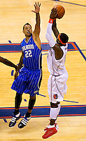 Photography of NBA 2010 playoff game four between the Charlotte Bobcats and Orlando Magic at Charlotte's Time Warner Cable Arena. The Charlotte Bobcats, which play in Time Warner Cable Arena in downtown Charlotte, are part of the Southeastern Division of the National Basketball Association's Eastern Conference.
