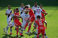 14th February 2021; Sao Januario Stadium, Rio de Janeiro, Brazil; Brazilian Serie A, Vasco Da Gama versus Internacional; Rodrigo Dourado of Internacional wins the cross and scores his goal in the 10th minute 0-1