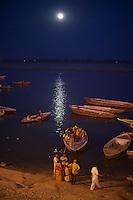 Moonrise over the Ganges River Varanasi India,  and Holi Festival