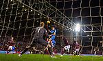 29.02.2020 Hearts v Rangers: George Edmundson heads over again