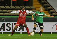 Cercle Brugge KSV - KV Kortrijk : duel tussen Steeven Joseph Monrose (links) en Hans Cornelis.foto VDB / BART VANDENBROUCKE