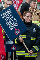FBU members protrest outside the Italian Embassy in London in solidarity with Miguel Roldan an Italian Firefighter being prosecuted for assisting refugees. 9-5-19