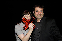 Montreal (QC) CANADA - May 18  2011  Gala NUMIX :  Production Originale Interactive - Section Jeunesse. Gagnant : Spiez - GÈnÈration Action ! - Tribal Nova :<br /> Florence Roche, Guillaume AniortÈ, Tribal Nova.<br /> <br /> <br /> Photo : (c) 2011, Pierre Roussel -  Pour Usage editorial relie au gala NUMIX 2011