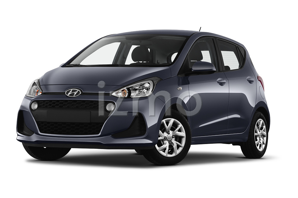 Stock pictures of low aggressive front three quarter view of 2019 Hyundai i10 Twist 5 Door Hatchback Low Aggressive