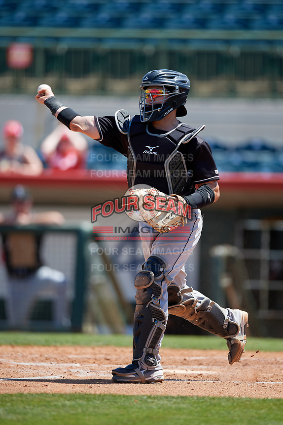Jupiter Hammerheads catcher B.J. Lopez (18) during a Florida State League game against the Florida Fire Frogs on April 11, 2019 at Osceola County Stadium in Kissimmee, Florida.  Jupiter defeated Florida 2-0.  (Mike Janes/Four Seam Images)