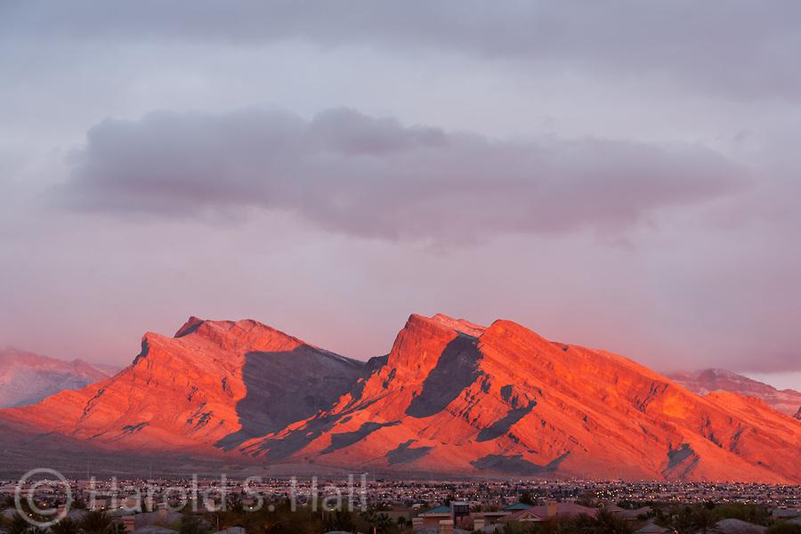 A brilliant sunrise makes the mountains around Las Vegas, Nevada glow