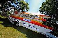 """The U-6 """"Holset Miss Madison"""" last raced in 1998 at the Madison Regatta. The Ron Jones designed boat was built as the U-25 """"Pay n' Pak""""...10-12 July, 2009, 100th Gold Cup, Detroit River, Detroit, MI USA..©2009 F.Peirce Williams, USA."""