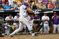 LSU Tigers outfielder Jake Fraley (23) swings the bat against the TCU Horned Frogs in the NCAA College World Series on June 14, 2015 at TD Ameritrade Park in Omaha, Nebraska. TCU defeated LSU 10-3. (Andrew Woolley/Four Seam Images)