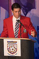 Former US National Team member, and MLS pioneer, Tab Ramos speaks at his induction to the National Soccer Hall of Fame. Wright Soccer Campus, Oneonta, NY, on August  29, 2005.