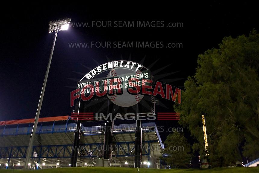 Johnny Rosenblatt Stadium in Omaha, Nebraska.  (Photo by Andrew Woolley / Four Seam Images)