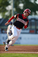 Batavia Muckdogs third baseman Joseph Chavez (46) running the bases during a game against the Mahoning Valley Scrappers on July 3, 2015 at Dwyer Stadium in Batavia, New York.  Batavia defeated Mahoning Valley 7-4.  (Mike Janes/Four Seam Images)