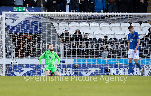 St Mirren v St Johnstone…19.10.19   St Mirren Park   SPFL<br />Zander Clark after being beaten for the second time this afternoon<br />Picture by Graeme Hart.<br />Copyright Perthshire Picture Agency<br />Tel: 01738 623350  Mobile: 07990 594431