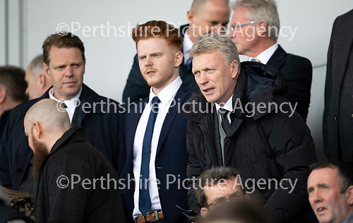 St Mirren v St Johnstone….27.04.19      St Mirren Park        SPFL<br />David Moyes takes his seat<br />Picture by Graeme Hart. <br />Copyright Perthshire Picture Agency<br />Tel: 01738 623350  Mobile: 07990 594431