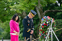 Karen Durham-Aguilera (left), executive director, Office of Army Cemeteries, and Maj. Gen. Maj. Gen. Omar Jones IV (right), commanding general, U.S. Army Military District of Washington, participate in an Wreath-Laying Ceremony at President John F. Kennedy's gravesite in Arlington National Cemetery, Arlington, Virginia, May 29, 2020. The wreath-laying marked Kennedy's 103rd birthday. (U.S. Army photo by Elizabeth Fraser / Arlington National Cemetery / released)