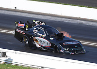 Jul 19, 2020; Clermont, Indiana, USA; NHRA funny car driver Chad Green during the Summernationals at Lucas Oil Raceway. Mandatory Credit: Mark J. Rebilas-USA TODAY Sports