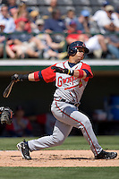Gregor Blanco #1 of the Gwinnett Braves follows through on his swing versus the Charlotte Knights at Knights Castle April 9, 2009 in Fort Mill, South Carolina. (Photo by Brian Westerholt / Four Seam Images)