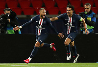 Soccer Football - Champions League - Round of 16 Second Leg - Paris St Germain v Borussia Dortmund - Parc des Princes, Paris, France - March 11, 2020  Paris St Germain's Neymar celebrates scoring their first goal with Marquinhos   <br /> Photo Pool/Panoramic/Insidefoto