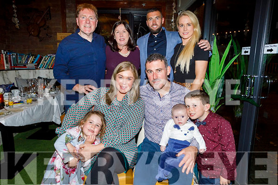 The christening party of Liam O'Connor from Abbeydorney in Benners Hotel on Saturday.<br /> Front l to r: Vanessa, Kelly Anne, John, Liam and Evan O'Connor. Back l to r: Brendan and Ann Roantree, Derek O'Connor and Louise Quill.