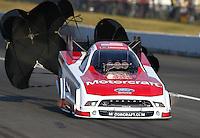 Aug. 1, 2014; Kent, WA, USA; NHRA funny car driver Bob Tasca III during qualifying for the Northwest Nationals at Pacific Raceways. Mandatory Credit: Mark J. Rebilas-