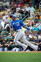 Toronto Blue Jays right fielder Junior Lake (48) at bat during a Spring Training game against the Pittsburgh Pirates on March 3, 2016 at McKechnie Field in Bradenton, Florida.  Toronto defeated Pittsburgh 10-8.  (Mike Janes/Four Seam Images)