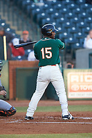 Isael Soto (15) of the Greensboro Grasshoppers at bat against the Augusta GreenJackets at First National Bank Field on April 10, 2018 in Greensboro, North Carolina.  The GreenJackets defeated the Grasshoppers 5-0.  (Brian Westerholt/Four Seam Images)