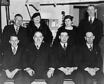Newly elected officers of Waterbury's Washington Park Community Club, installed January 1936. Pictured from left to right, seated: James Gladney, recording secretary; Frank Sturges, vice-president; Albert Lawlor, financial secretary. Standing: Joseph Mulcunry, auditor; Mrs. Michael Kelley, director; Mrs. Mary Blake, auditor; and John Dalton, treasurer.