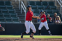 Zach Remillard (8) of the Kannapolis Intimidators follows through on his swing against the Hagerstown Suns at Kannapolis Intimidators Stadium on June 14, 2017 in Kannapolis, North Carolina.  The Intimidators defeated the Suns 4-1 in game one of a double-header.  (Brian Westerholt/Four Seam Images)