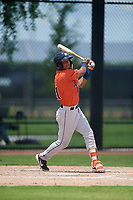 GCL Astros Franklin Pinto (21) bats during a Gulf Coast League game against the GCL Nationals on August 9, 2019 at FITTEAM Ballpark of the Palm Beaches training complex in Palm Beach, Florida.  GCL Nationals defeated the GCL Astros 8-2.  (Mike Janes/Four Seam Images)