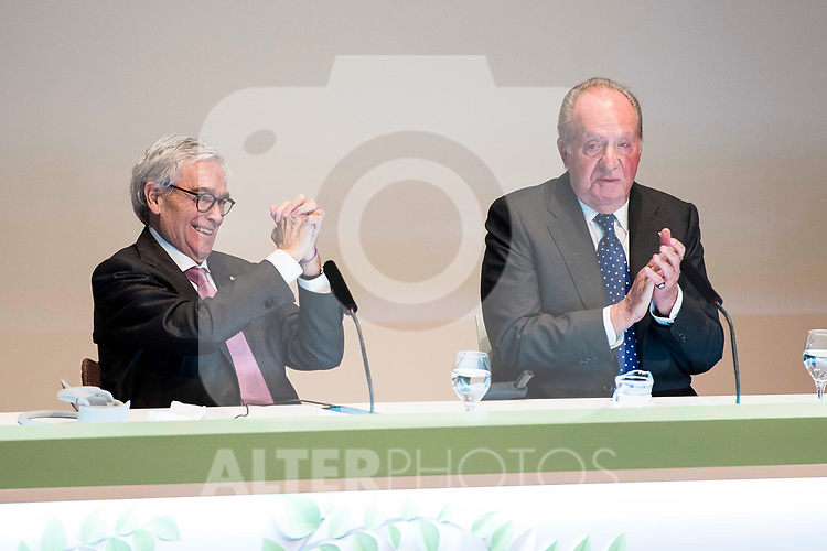 D. Francisco Luzon Lopez and King Juan Carlos attends to the act of imposition of the great cross of the civil order of Alfonso X el Sabio to D. Francisco Luzon Lopez at Reina Sofia Museum in Madrid. March 13, 2017. (ALTERPHOTOS/Borja B.Hojas)