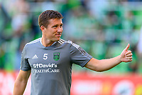 AUSTIN, TX - JUNE 19: Matt Besler #5 of Austin FC gives a thumbs up to the crowd before a game between San Jose Earthquakes and Austin FC at Q2 Stadium on June 19, 2021 in Austin, Texas.
