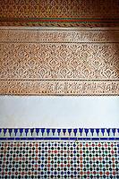 Berber Arabesque Mocarabe plasterwork and Zellige tiles .The Petite Court, Bahia Palace, Marrakesh, Morroco