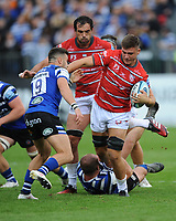 Jake Polledri of Gloucester Rugby is tackled by Tom Dunn of Bath Rugby during the Gallagher Premiership Rugby match between Bath Rugby and Gloucester Rugby at The Recreation Ground on Saturday 8th September 2018 (Photo by Rob Munro/Stewart Communications)