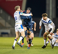 12th February 2021; AJ Bell Stadium, Salford, Lancashire, England; English Premiership Rugby, Sale Sharks versus Bath;  JP du Preez of Sale Sharks  is tackled by   Rhys Priestland of Bath Rugby