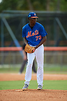 GCL Mets relief pitcher Brendan Hardy (73) gets ready to deliver a pitch during a game against the GCL Marlins on August 3, 2018 at St. Lucie Sports Complex in Port St. Lucie, Florida.  GCL Mets defeated GCL Marlins 3-2.  (Mike Janes/Four Seam Images)