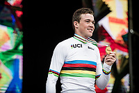 Mads Pedersen (DEN/Trek-Segafredo) is the 2019 World Champion<br /> <br /> Elite Men Road Race from Leeds to Harrogate (shortened to 262km)<br /> 2019 UCI Road World Championships Yorkshire (GBR)<br /> <br /> ©kramon