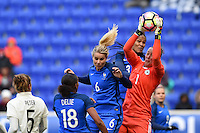 Harrison, NJ - Saturday, March 04, 2017: Amandine Henry, Wendie Renard, Almuth Schult during a SheBelieves Cup match between the women's national teams of France (FRA) and Germany (GER) at Red Bull Arena.