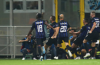 Football Soccer: UEFA Champions League FC Internazionale Milano vs Tottenham Hotspur FC, Giuseppe Meazza stadium, September 15, 2018.<br /> Inter's Matias Vecino (second from right) celebrates after scoring with his teammates during the Uefa Champions League football match between Internazionale Milano and Tottenham Hotspur at Giuseppe Meazza (San Siro) stadium, September 18, 2018.<br /> UPDATE IMAGES PRESS/Isabella Bonotto
