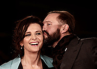 """British actor Ralph Fiennes kisses French actress Juliette Binoche on the red carpet for a special screening of the movie """"The English Patient"""" during the international Rome Film Festival at Rome's Auditorium, 22 October 2016. The Film Festival celebrates one of the most beloved of Cinema History 'The English Patient' by Anthony Minghella, released twenty years ago (in 1996). <br /> UPDATE IMAGES PRESS/Isabella Bonotto"""